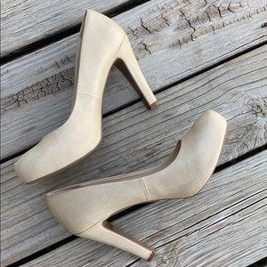 Franco Sarto cream faux skin heels